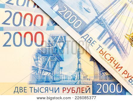 New Russian Banknotes In Denominations Of 2000 Rubles Close-up, Top View