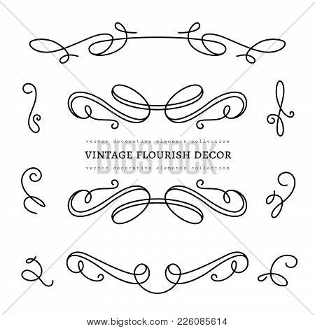 Vintage Calligraphic Vignettes, Set Of Decorative Design Elements In Retro Style, Vector Scroll Embe