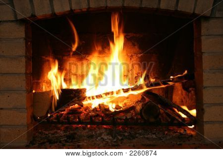 Fire In Fireplace