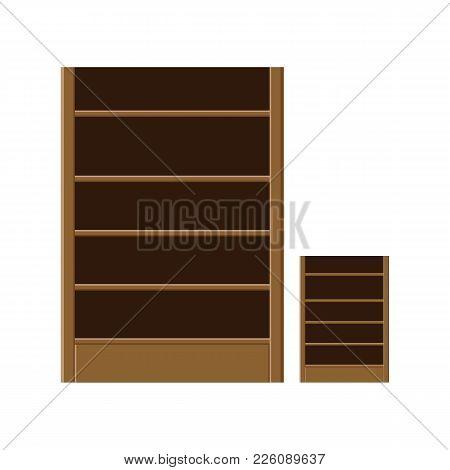 Bookcase. Blank Bookshelves. Vector Illustration On A Background