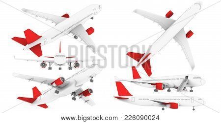 White Airplanein A Hand-drawn Style. 3d Render On A White Background. Airplane In Profile, From The