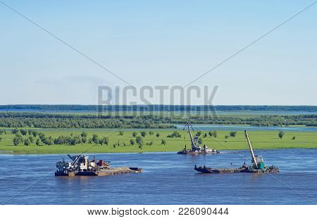 Dredging On The River Irtysh In Area Of Khanty-mansiysk