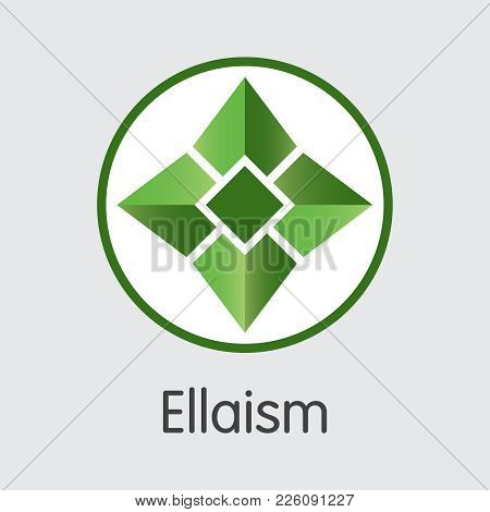 Ellaism - Cryptocurrency Blockchain Vector Icon On Grey Background. Virtual Currency. Vector Trading
