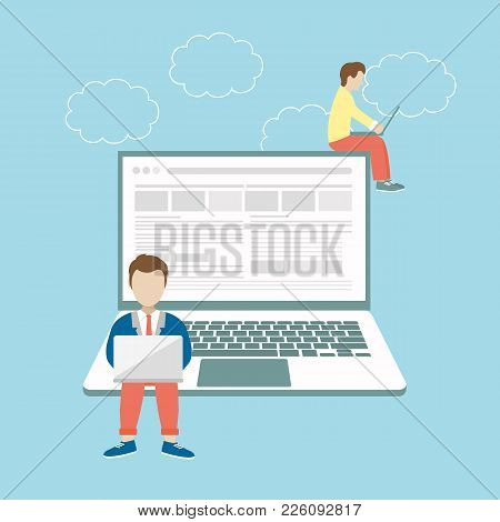 Men Sitting On Big Notebook. Social Network Web Site. Surfing Concept Illustration Of Young People U