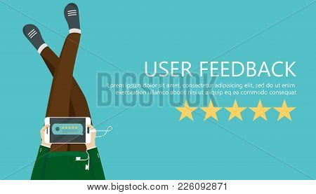 Rating On Customer Service Illustration. Man Sitting On The Floor And Holding Tablet In His Lap. Web