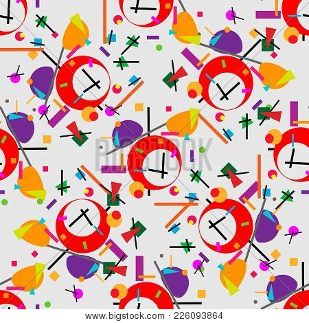 Geometric Illustration Of Retro Alarm Clock Cubism Supermatism. A Square, A Circle Of A Line. Styliz