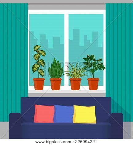 Big Window With Curtain And Plants In Pots On The Windowsill, The Couch In The Foreground. City Outs