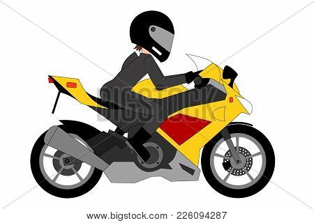 Yellow Racing Motorcycle With Biker Isolated On The White Background