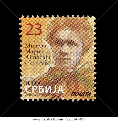 Serbia - Circa 2016 : Cancelled Postage Stamp Printed By Serbia, That Shows Portrait Of Mileva Maric