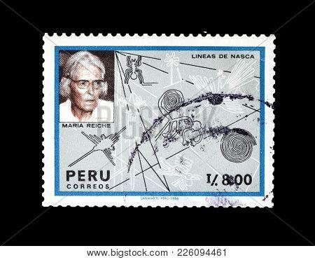Peru - Circa 1987 : Cancelled Postage Stamp Printed By Peru, That Shows Dr Maria Reiche And Nazca Li