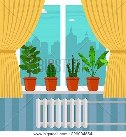 Big Window With Curtain And Plants In Pots On The Windowsill. City Outside The Window. Vector Illust
