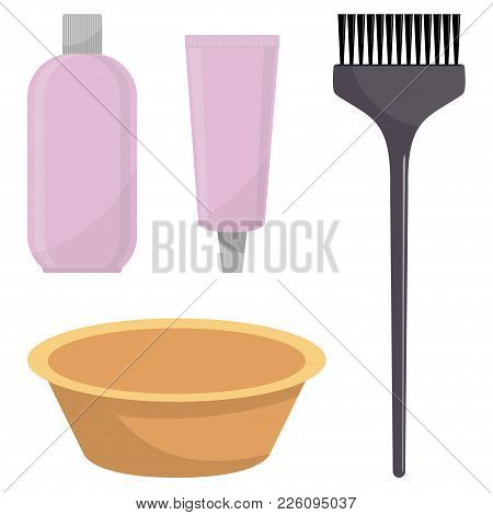 Hair Dye, Oxidizer, Hair Dye Brush And Mixing Bowl. Hair Coloring Set, Vector Illustration, Isolated