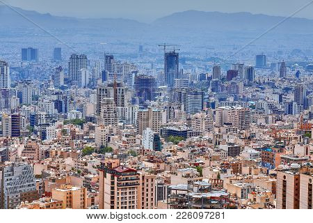 Tehran, Iran - April 28, 2017: Panoramic View Over The City Of Tehran, Iran In Daytime.
