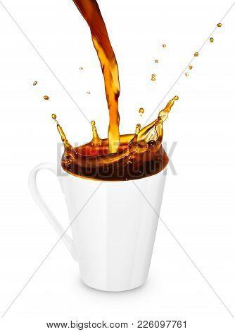 Coffee Or Tea Pouring Into Mug Creating Splashes Isolated On White Background. Coffee Splash