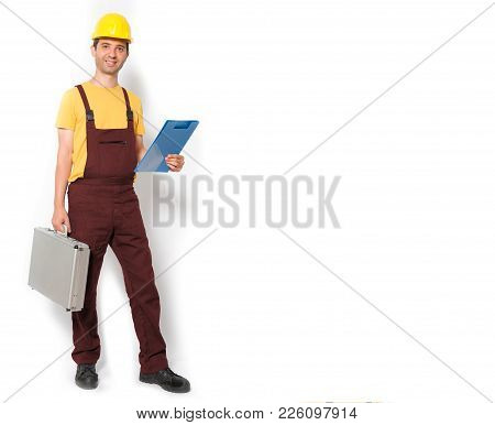 Mechanic Holding Toolbox Ready To Work Isolated On White Background