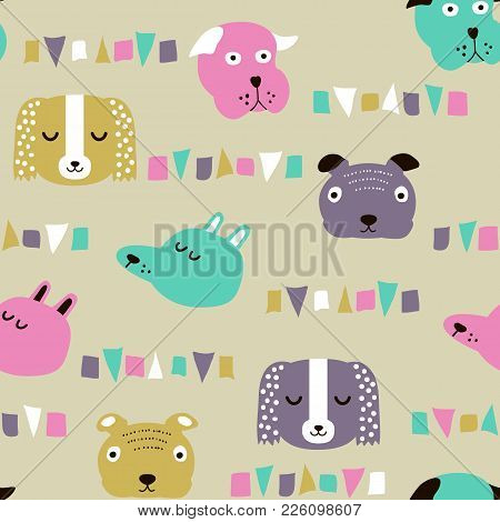 Seamless Vector Childish Pattern With Dog Animal Faces As Backround Or Texture For Kids Design, Fabr