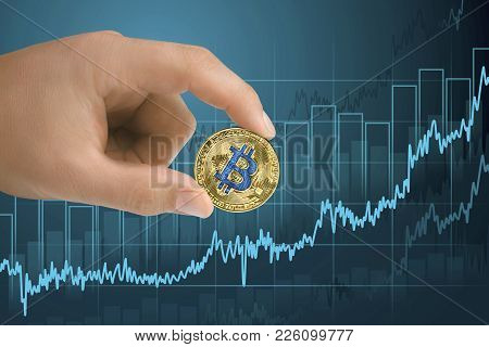 Appreciation, Strengthening And Growing Bitcoin Financial Growth Graph. Rising Up Of Value Cryptocur
