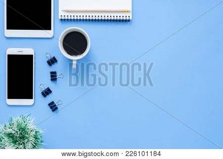 Office Desk Working Space - Flat Lay Top View Mockup Photo Of Working Space With Tablet, Phone, Coff