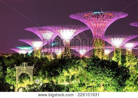 Singapore - January 11, 2018: Gardens By The Bay And Supertrees In Singapore. Singapore City Skyline