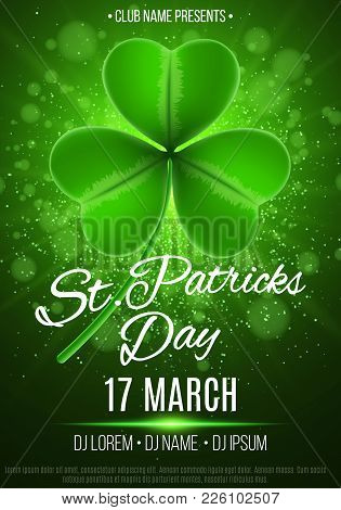 Poster For A Happy Saint Patrick's Day Party. Green Rays Of Light. Abstract Bokeh Lights And Glowing