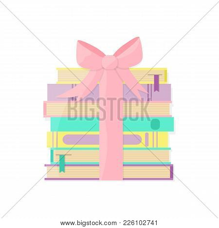 Books Pile Packaged As A Gift. Books Decorated With Bow. Vector Illustration.