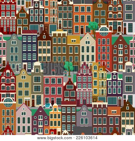 Urban Landscapes With Old European Houses, City Streets, Seamless Pattern