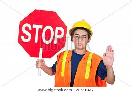 Boy Holding Stop Sign