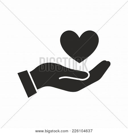 Heart In Hand. Vector Icon Isolated On White Background.
