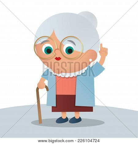Cute Grandma Illustration, Simple Vector Design Isolated On White Background