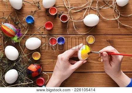 Easter Eggs Craft. Paint Colorful Handmade Holiday Decoration, Preparing For Happy Event. Artist Han