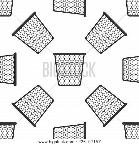 Trash Can Icon Seamless Pattern On White Background. Flat Design. Vector Illustration