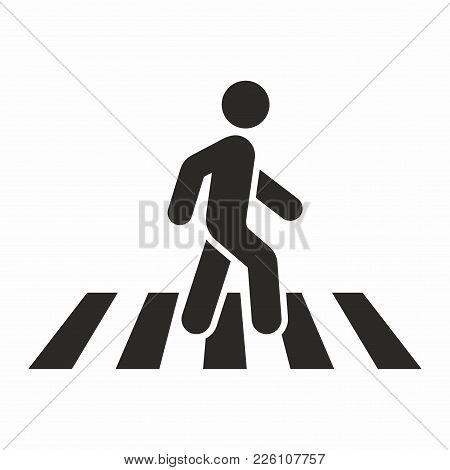 Pedestrian, Crosswalk. Vector Icon Isolated On White Background.