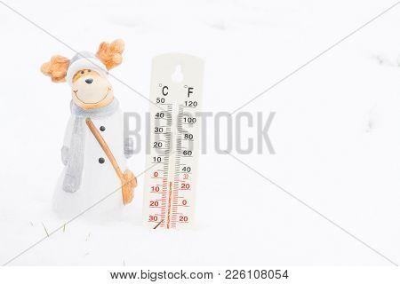 Thermometer In Winter Garden Ith Small Cute White Deer Doll