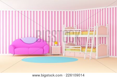 Pink Cute Cartoon Interior With A Bunk Bed. 3d Illustration