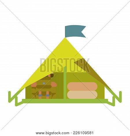 Tent Icon, Flat Without Outline Vector Illustration Isolated On White Background. Shelter For Rest A