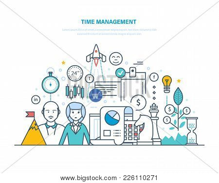 Time Management Concept. Planning And Organization Of Working Hours, Regulation, Management, Control