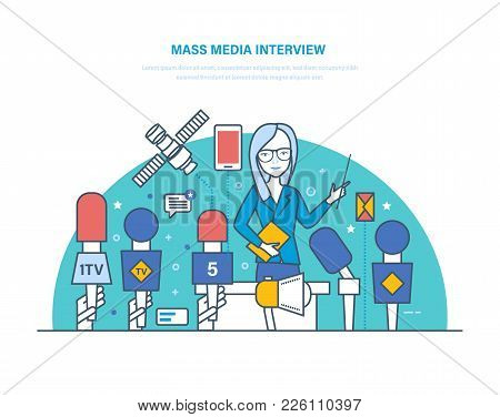 Mass Media Interview. Live Press Conference, Journalism, Collection Of Materials. Reporters Intervie