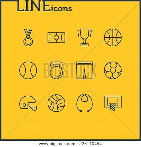 Vector Illustration Of 12 Sport Icons Line Style. Editable Set Of Uniform, Game, Skipping Rope And O