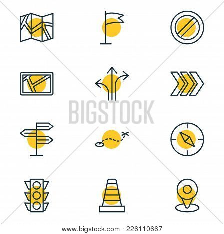 Vector Illustration Of 12 Navigation Icons Line Style. Editable Set Of Signpost, Arrow, Guidepost An