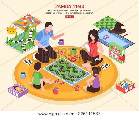 Family Pastime Scene With Parents And Kids Playing Board Games On Floor Isometric Vector Illustratio