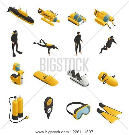 Underwater Tools Accessories Vehicles Including Submarine Bathyscaphe And Divers Equipment Isometric