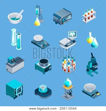 Laboratory Equipment Including Beakers, Scales, Burner, Scientific Devices Isometric Icons Isolated