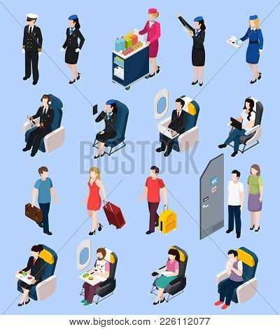Airplane Passengers And Crew Isometric Set With Airport Symbols Isolated Vector Illustration