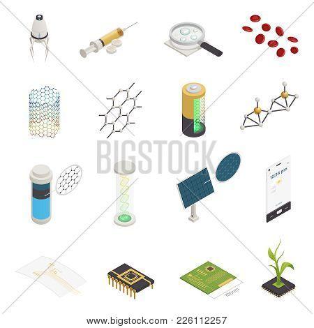 Nanotechnology Nanoscience Nanomedicine Isometric Symbols Set With Nanorobots Injection Computer Chi