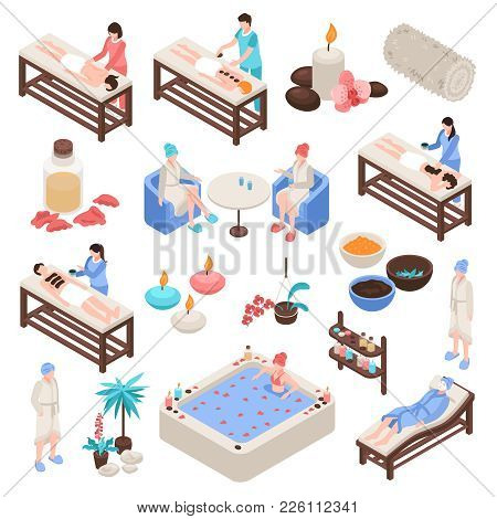 Spa And Beauty Isometric Set With Accessories For Massage Stone And Aroma Therapy Isolated Vector Il
