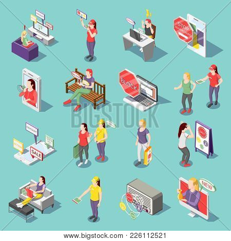 Annoying Advertisement On Tv, Radio, In Internet Set Of Isometric Icons Isolated On Turquoise Backgr