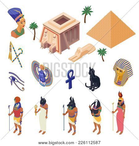Egypt Cultural Symbols Landmarks And Attractions Isometric Icons Collection With Pyramid Ethnic Nati