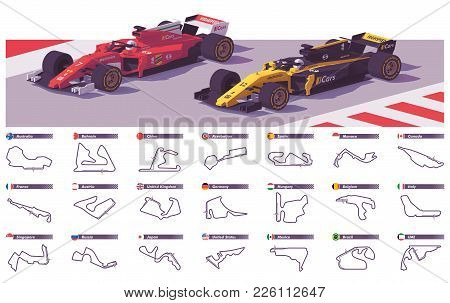 Vector Motor Racing Tracks Collection And Racing Cars