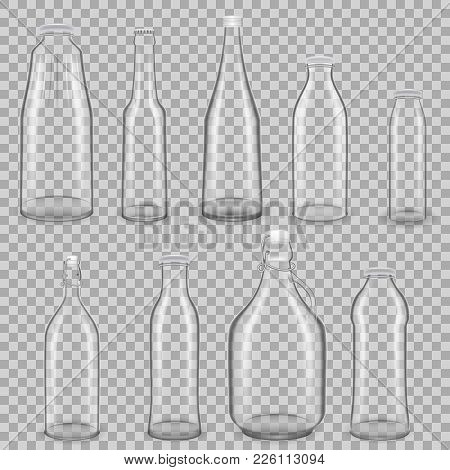 Set Of Realistic Template Of Empty Glass Transparent Bottles For Drinks Of Juice, Milk, With Lids. T