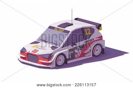 Vector Low Poly Rally Racing Car In White And Red Livery